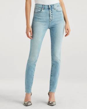 7 For All Mankind High Waist Skinny with Exposed Button Fly in Vail