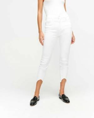 7 For All Mankind Ankle Skinny with Wave Hem in Clean White