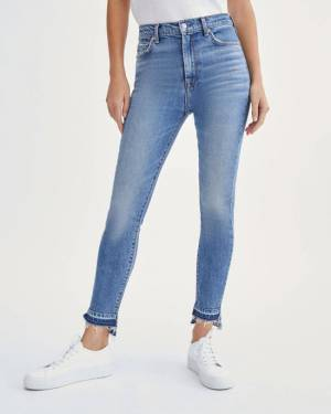 7 For All Mankind High Waist Ankle Skinny with Let Down Hem in Alpine Drive