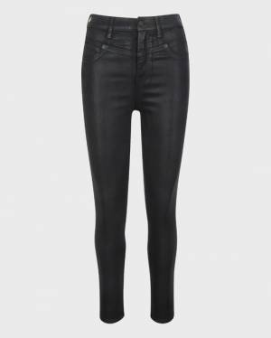 7 For All Mankind Coated Retro Corset Skinny in Black