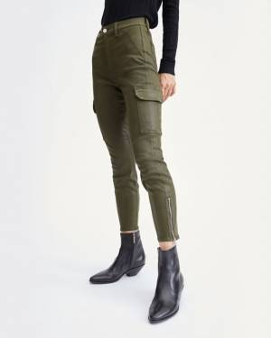 7 For All Mankind Coated Skinny Cargo in Army
