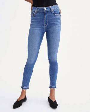 7 For All Mankind High Waist Ankle Skinny With Let Down Hem in Court