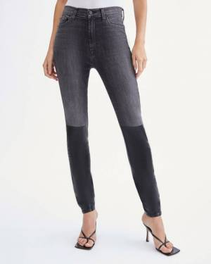 7 For All Mankind High Waist Skinny with Coated Boot in Black