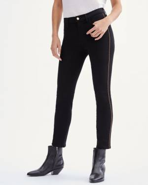 7 For All Mankind Slim Illusion Ankle Skinny with Chain Trim in Black