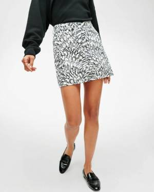 7 For All Mankind Asymmetric Skirt in Black / White