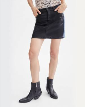 7 For All Mankind Coated 50 / 50 Denim Miniskirt in Black