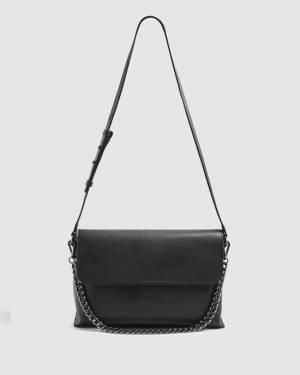 7 For All Mankind Leather Shoulder Bag in Black
