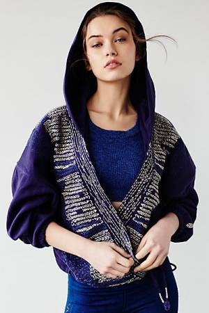 "Free People Wrap Hoodie Jacket ""Sashiko"" FP Movement"