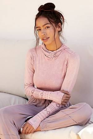 "Free People Workout Hoodie Top ""Good Karma"" Soft Pink"