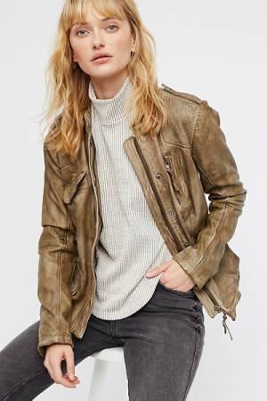 Free People Rumpled Olive Leather Blazer Jacket