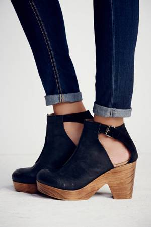 Free People FP Collection Amber Orchard Black Clog Boots