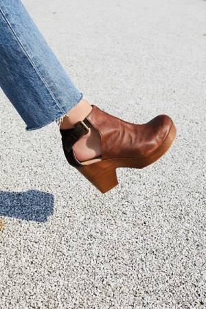 Free People FP Collection Amber Orchard Chocolate Brown Clog Boots