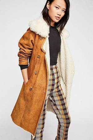 "Free People Suede Trench Coat ""Sherpa"""