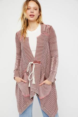 Free People Asymmetrical Boho Knit Cardigan