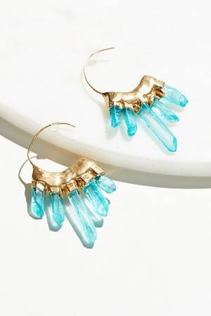 Bohobo Collective Icicle Raw Quartz Turquoise Hoops Earrings