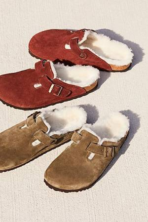 """Birkenstock Shearling Sandals """"Boston"""" Slip-On Birkens Clogs"""