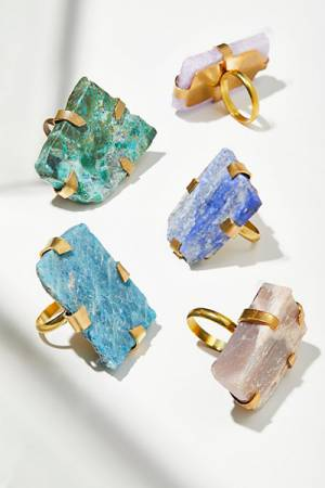 M.Liz Designs Bohemian Large Raw Stone Ring