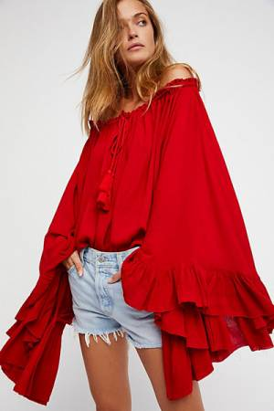 Free People Endless Summer Here To Stay Red Tunic Top