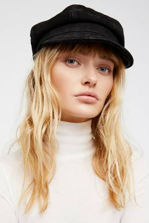 Understated Leather for Free People Avery Black Leather Lieutenant Hat