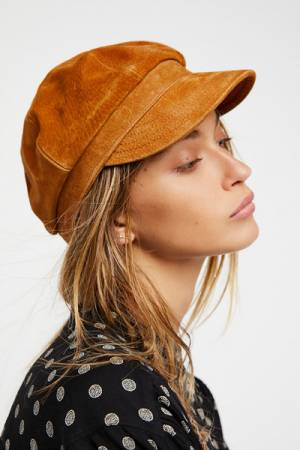 Understated Leather for Free People Avery Tan Leather Lieutenant Hat