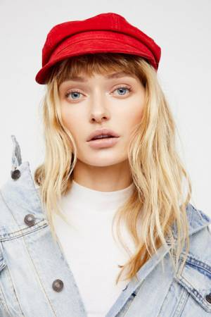 Understated Leather for Free People Avery Red Leather Lieutenant Hat