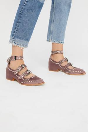 Jeffrey Campbell + Free People Cooper Grey Satin Studded Flat Shoes