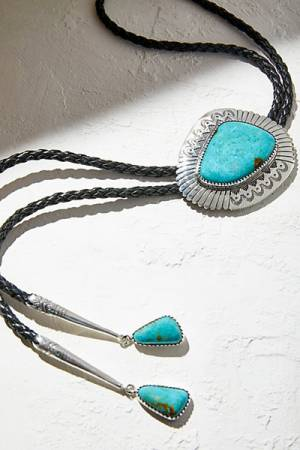 Navajo Arts & Crafts Enterprise Sterling Turquoise Leather Bolo Necklace