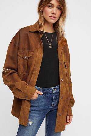 Free People Stud Suede Shirt Jacket