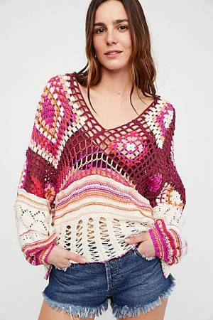"Free People Boho Crochet Top ""Call Me"""