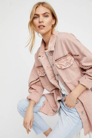 Free People Drive-in Denim Shirt Jacket