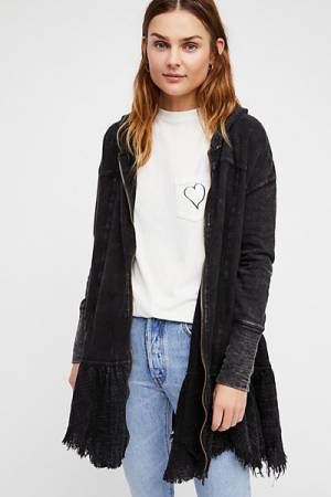 Free People Hooded Flared Hem Cardigan Jacket