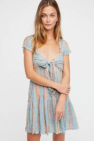 "Free People Striped Wrap Mini Dress ""FP One Maia"""