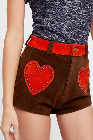 Understated Leather Retro Hearts Western Suede Shorts