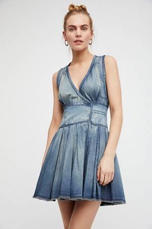 Free People FP One Denim Chambray Wrap Mini Dress