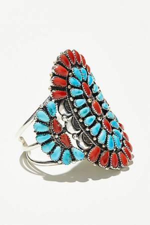Navajo Arts & Crafts Enterprise Coral & Turquoise Cluster Cuff Bracelet