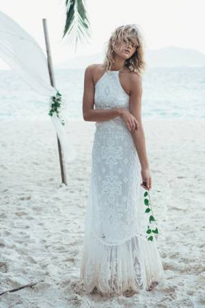 "Spell Bohemian Wedding Dress ""Casablanca"" Halter Gown"