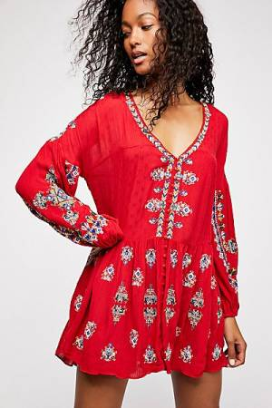 "Free People Bohemian Mini Dress ""The Arianna Embroidered Tunic"""