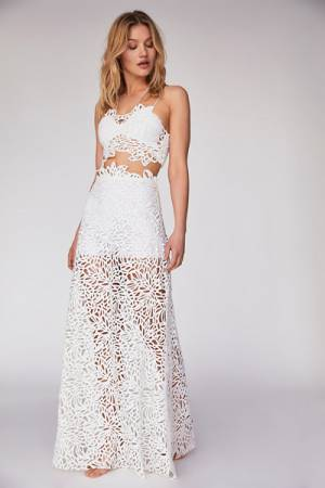 Free People FP Limited Edition Lissa White Maxi Dress Set