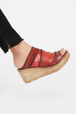 A.S.98 Sangria Wedge Sandals
