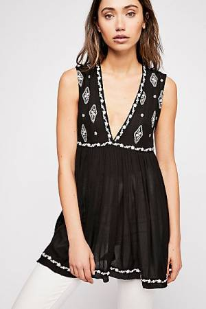 "Free People Embroidered Boho Top ""Sleeveless Diamond"""
