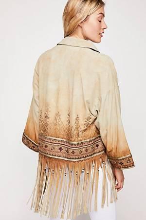Brenda Knight Suede Boho Fringed Kimono Jacket