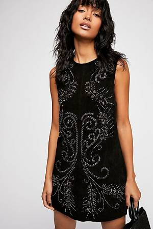 Free People Wynonna Studded Suede Mini Dress