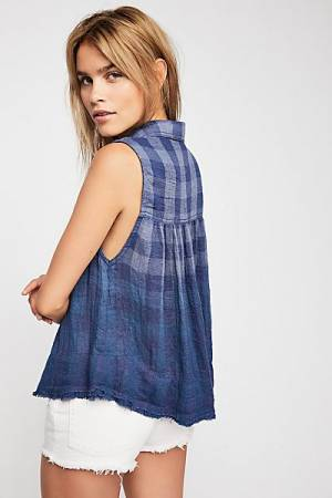 """Free People Plaid Buttondown Shirt """"Hey There Sunrise"""""""