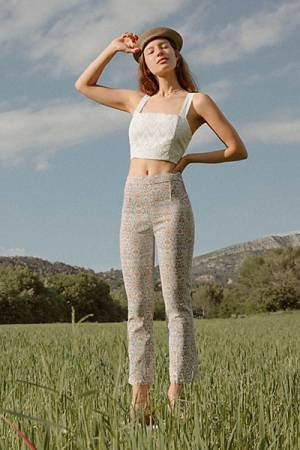 "Free People Floral Crop Flare Jeans ""Frida"""