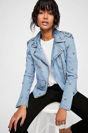 Understated Leather Star Studded Moto Denim Jacket