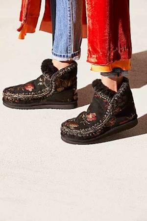 """MOU Boots """"Eskimo"""" Black Floral"""