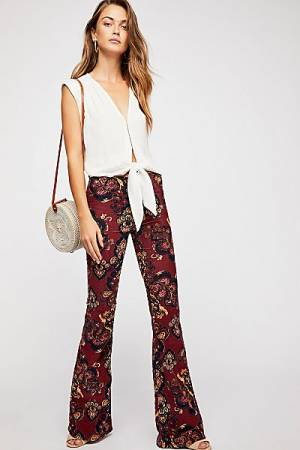 "Free People Retro Flare Jeans ""Pull On Corduroy"" Boho-Chic"