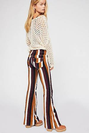 "Free People Pants ""Pull On Corduroy"" Retro Striped Flares"