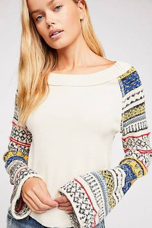 "Free People Top ""Fairground"" Boho Thermal"
