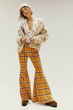 "Free People Jeans ""Just Float On Mustard Plaid Cord Flares"""